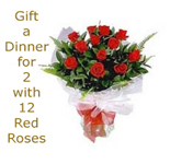 Gift your loved one a five star dining experience with Vouchers for Rs.1500 from the Taj Group of Hotels-$45.95. Send 12 Roses bunch with this for a special price of $5.00 (Normally $8.45) Save 40%.