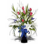 Six pink roses, three white roses ,six blue orchids, three white Asiatic lilies, exotic greenery complete this elegant and sophisticated arrangement. Flowers are design in tall vase and  finished with blue bow.