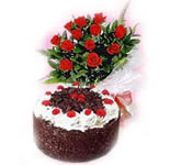1/2 Kg. Black Forest cake with 12 lovely dutch roses,is the best way to shower blessings on your loved one.